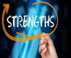 a person circling the word strengths on a piece of glass
