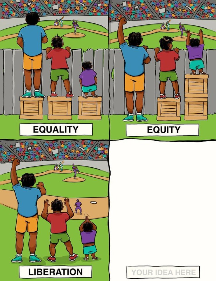 Boys on boxes as described in the blog representing equality, equity and one labeled liberation where the fence is removed altogether